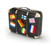 Black leather suitcase with travel stickers. 3d — Stok fotoğraf