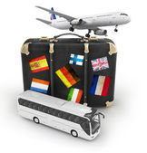 Travel concept with plane, suitcase and bus — Stock Photo