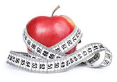Red apple with measurement — Stok fotoğraf