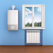 Close-up of home radiator and heater — Stock Photo