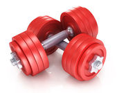 Two dumbbells for fitness — Stock Photo
