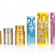 Euro rolled bills, with coins — Stock Photo #44556455
