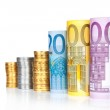 Euro rolled bills, with coins — Stock Photo #44556701