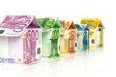 Houses from Euro bills — Stock Photo