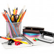 Cup with pens and pencils — Stock Photo #47113035