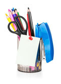 Cup with pens and pencils — Stock Photo
