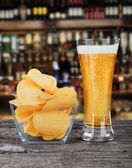 Beer with chips — Stock Photo