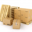 Creative cargo, delivery and transportation logistics storage warehouse industry business concept: group of stacked corrugated cardboard boxes on wooden shipping pallets isolated on white background — Stock Photo #50901139