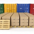 Creative cargo, delivery and transportation logistics storage warehouse industry business concept: group of stacked corrugated cardboard boxes on wooden shipping pallets isolated on white background — Stock Photo #50904741