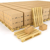 Creative cargo, delivery and transportation logistics storage warehouse industry business concept: group of stacked corrugated cardboard boxes on wooden shipping pallets isolated on white background — Stock Photo