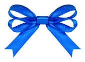 Blue satin bow on the isolated white background — Stock Photo