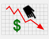 Declining equity price of dollar — Stock Photo