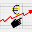 Rise equity price of euro — Stock Photo