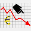 Stock Photo: Declining equity price of euro