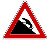 Slope warning sign for dogs — Stock Photo