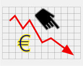 Declining equity price of euro — 图库照片