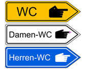 Direction sign WC — Stock Photo