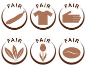 Symbols and products of fair trade — Stock Photo