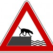 Stock Photo: Road ending warning sign for dogs