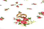 Arrangement with wedding rings — Stock Photo