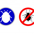 Aphid ladybird traffic signs — Stock Vector #44339191