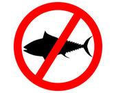 Prohibition sign tuna fishing — Stock Vector