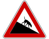 Slope warning sign for dogs — Stock Vector