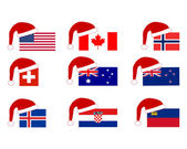Flag of nine countries with Santa Claus cap — Stock Vector