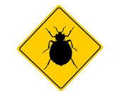 Bed bug warning sign — Stock Vector