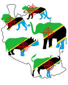 Big Five Tanzania cross lines — Stock Vector