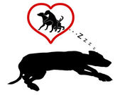 Dog dreams — Stock Vector