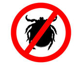 Prohibition sign for  ticks on white background — Stock Vector