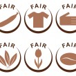 Symbols and products of fair trade — Stock Vector