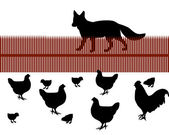 Fox behind a fence looking for chicken as food — Stock Vector