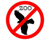 Raptor in zoo prohibited — Stock Vector