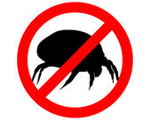 The illustration of a prohibition sign for house dust mites — Stock Vector