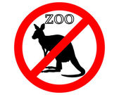Kangaroo in zoo prohibited — Vector de stock