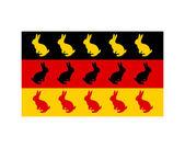 Bandera de alemania con pascua bunnys — Vector de stock
