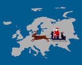 Santa Claus, dog, kiwi on their reindeer sleigh high above the european continent — Stock Vector