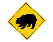 Grizzly warning sign — Stock Vector