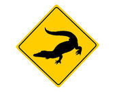 Alligator warning sign — Stock Vector
