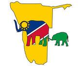 Namibia elephants — Stock Vector