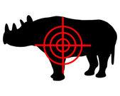 Black Rhinoceros crosshair — Stock Vector
