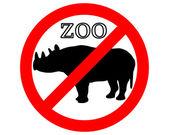Rinoceronte en zoológico prohibida — Vector de stock