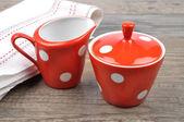 Milk jug and sugar bowl — Stock Photo