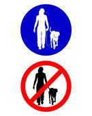 дорожные знаки для прогулок с собакой — Cтоковый вектор