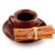 Cup of coffee with cinnamon sticks isolated — Stock Photo