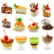 Collection of delicous dessert isolated on white — Stockfoto