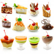 Collection of delicous dessert isolated on white — Stock Photo