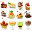 zbiór deser pyszne na białym tle — Zdjęcie stockowe